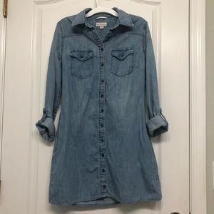 Soft cotton button-up blue jean dress